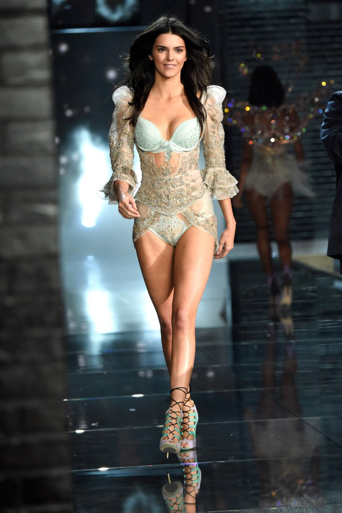 NEW YORK, NY - NOVEMBER 10: Model Kendall Jenner from California walks the runway during the 2015 Victoria's Secret Fashion Show at Lexington Armory on November 10, 2015 in New York City. (Photo by Kevin Mazur/WireImage)