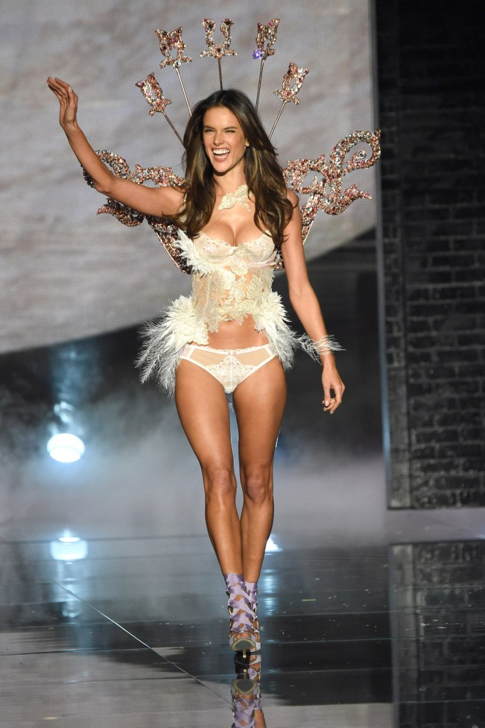 NEW YORK, NY - NOVEMBER 10: Model and Victoria's Secret Angel Alessandra Ambrosio from Brazil walks the runway during the 2015 Victoria's Secret Fashion Show at Lexington Armory on November 10, 2015 in New York City. (Photo by Kevin Mazur/WireImage)