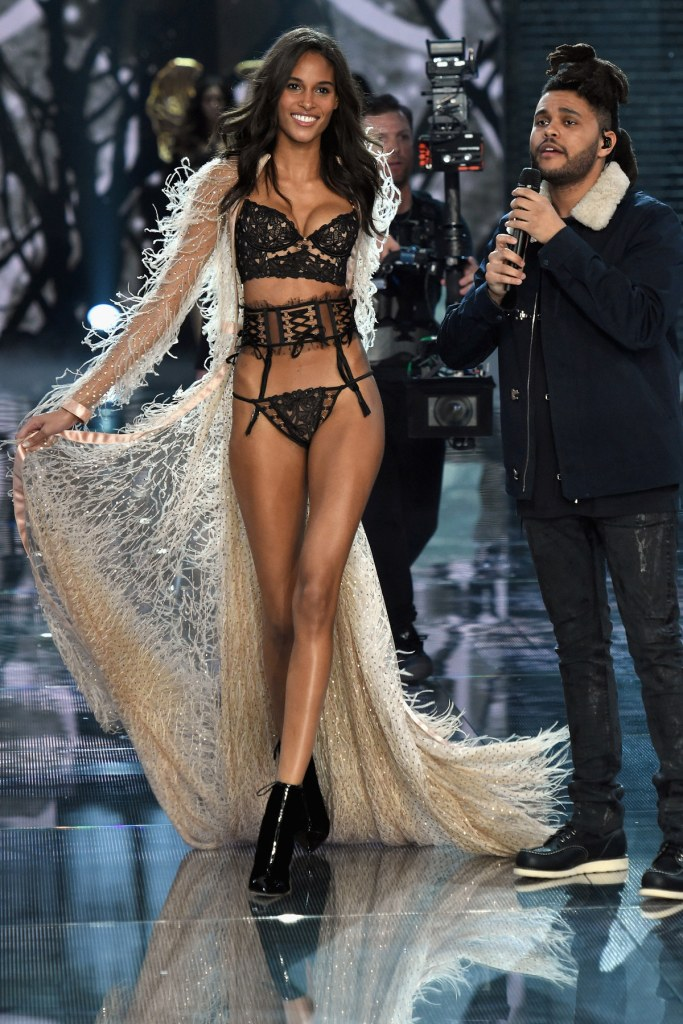 NEW YORK, NY - NOVEMBER 10: Model Cindy Bruna from France walks the runway while singer The Weeknd performs during the 2015 Victoria's Secret Fashion Show at Lexington Avenue Armory on November 10, 2015 in New York City. (Photo by Dimitrios Kambouris/Getty Images for Victoria's Secret)