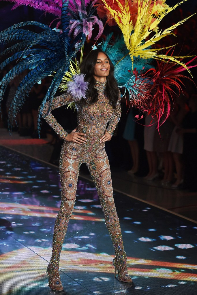 Model Cindy Bruna from France presents a creation during the 2015 Victoria's Secret Fashion Show in New York on November 10, 2015. AFP PHOTO/JEWEL SAMAD (Photo credit should read JEWEL SAMAD/AFP/Getty Images)